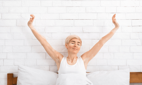 Woman waking up well rested
